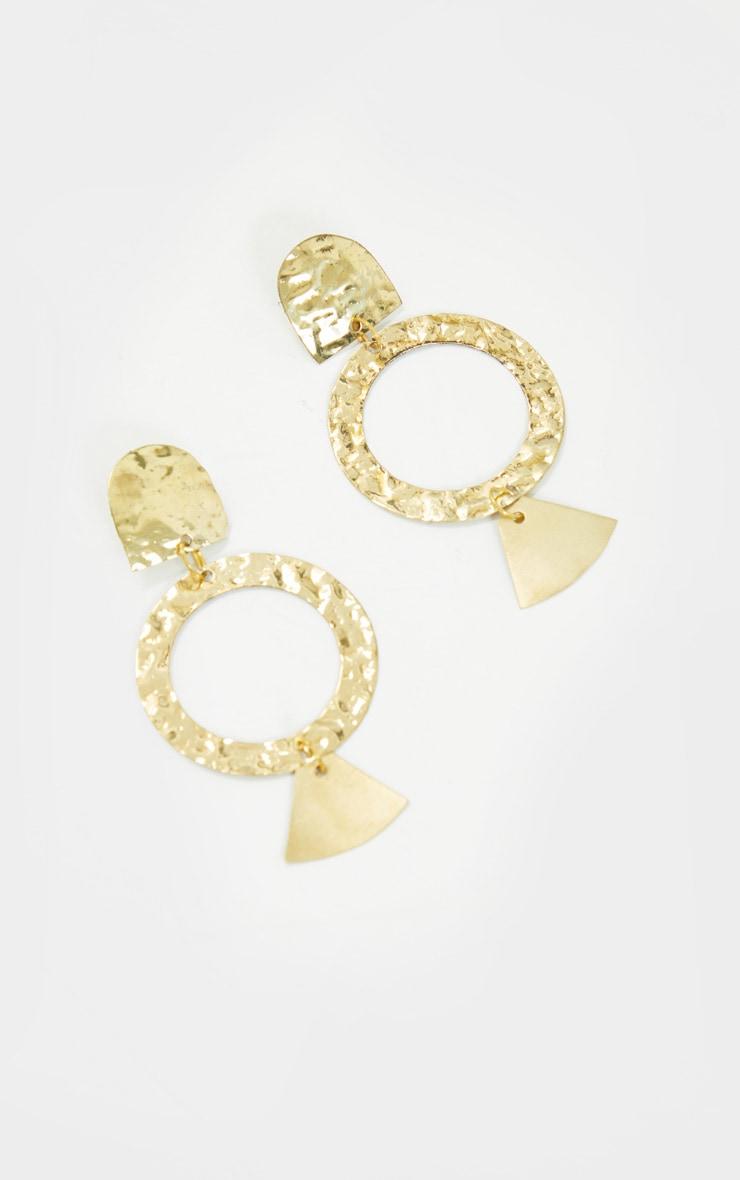 Gold Drop Hoop Textured Earrings 2