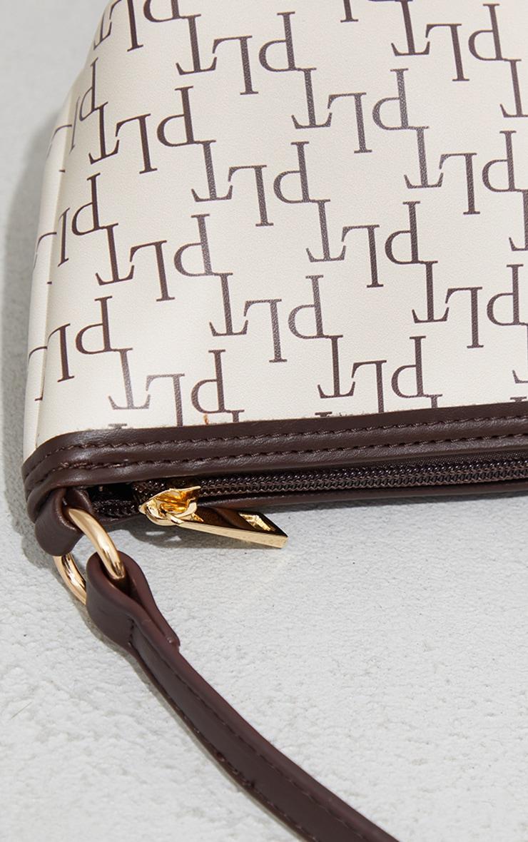 PRETTYLITTLETHING Cream Monogram Shoulder Bag 4