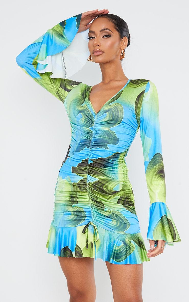 Green Abstract Print Slinky Ruched Front Flare Sleeve Bodycon Dress 3