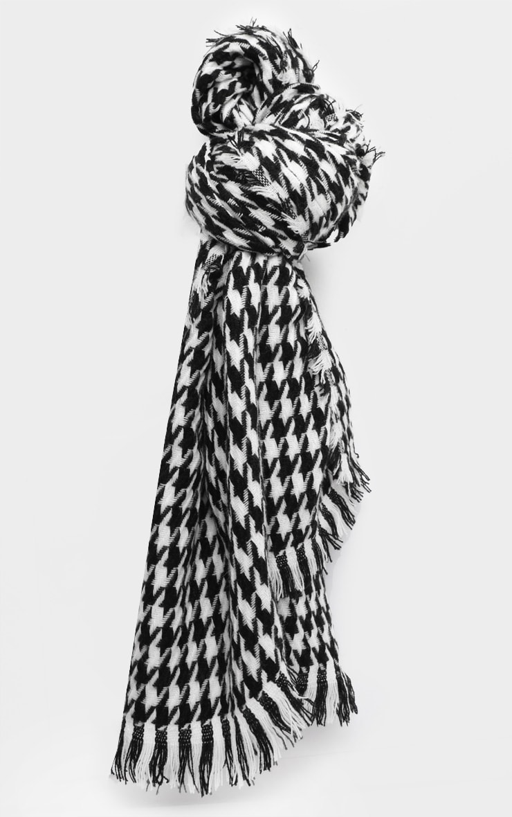 Black And White Houndstooth Scarf 2