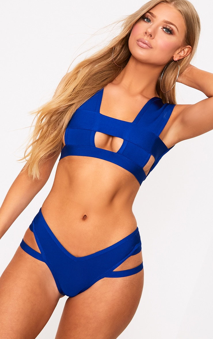Ensemble de bikini bandage cobalt 1