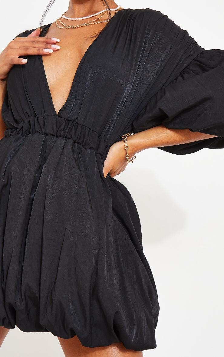Black Puff Sleeve Puffball Hem Shift Dress 4