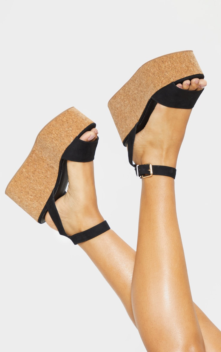 Black Double Flatform Cork Sandal  2
