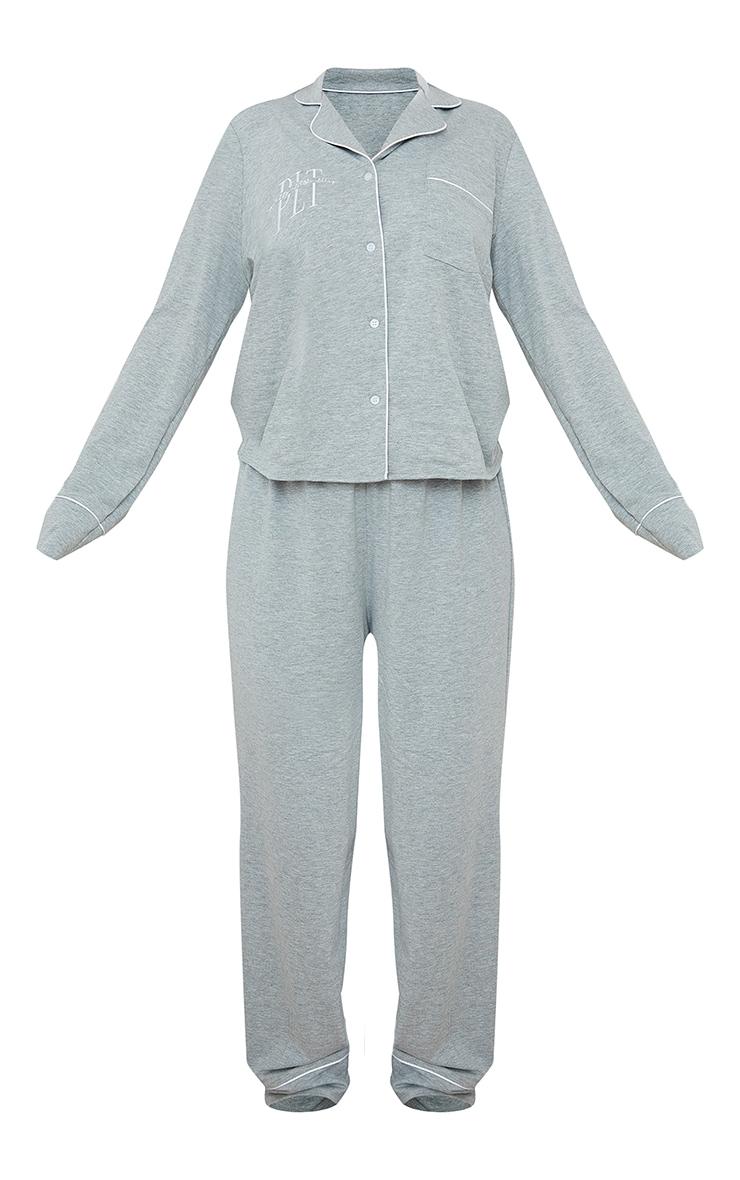 PRETTYLITTLETHING Grey Jersey Button Down Long PJ Set 5