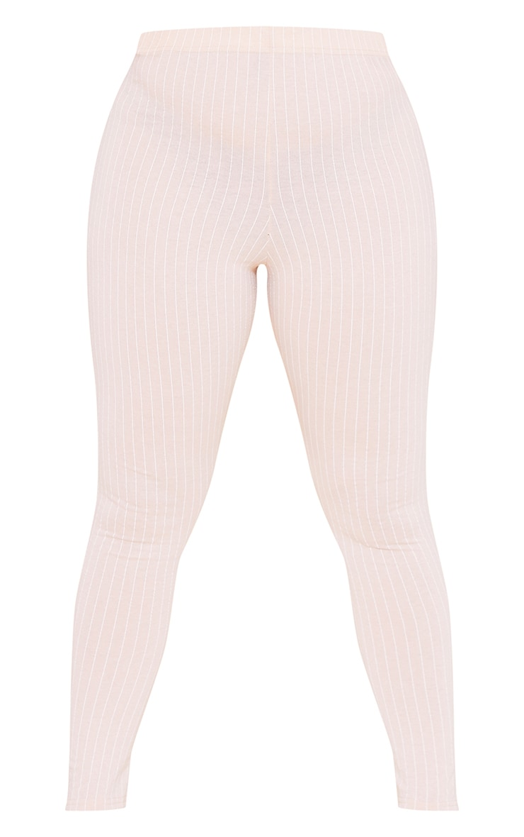 RECYCLED Plus Deep Nude Pinstripe Leggings 3
