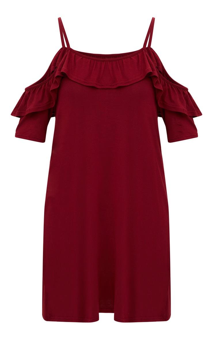 Burgundy Jersey Cold Shoulder Shift Dress 3
