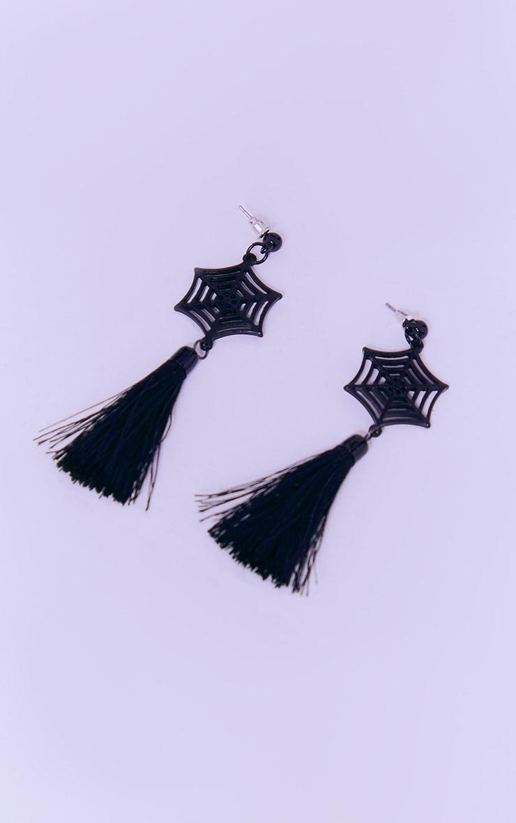Black Spider Web Earrings 2