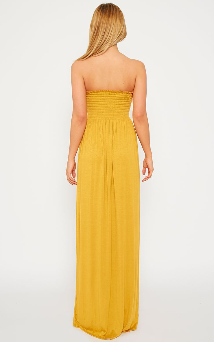 Tamara Mustard Elasticated Bandeau Jersey Maxi Dress 3