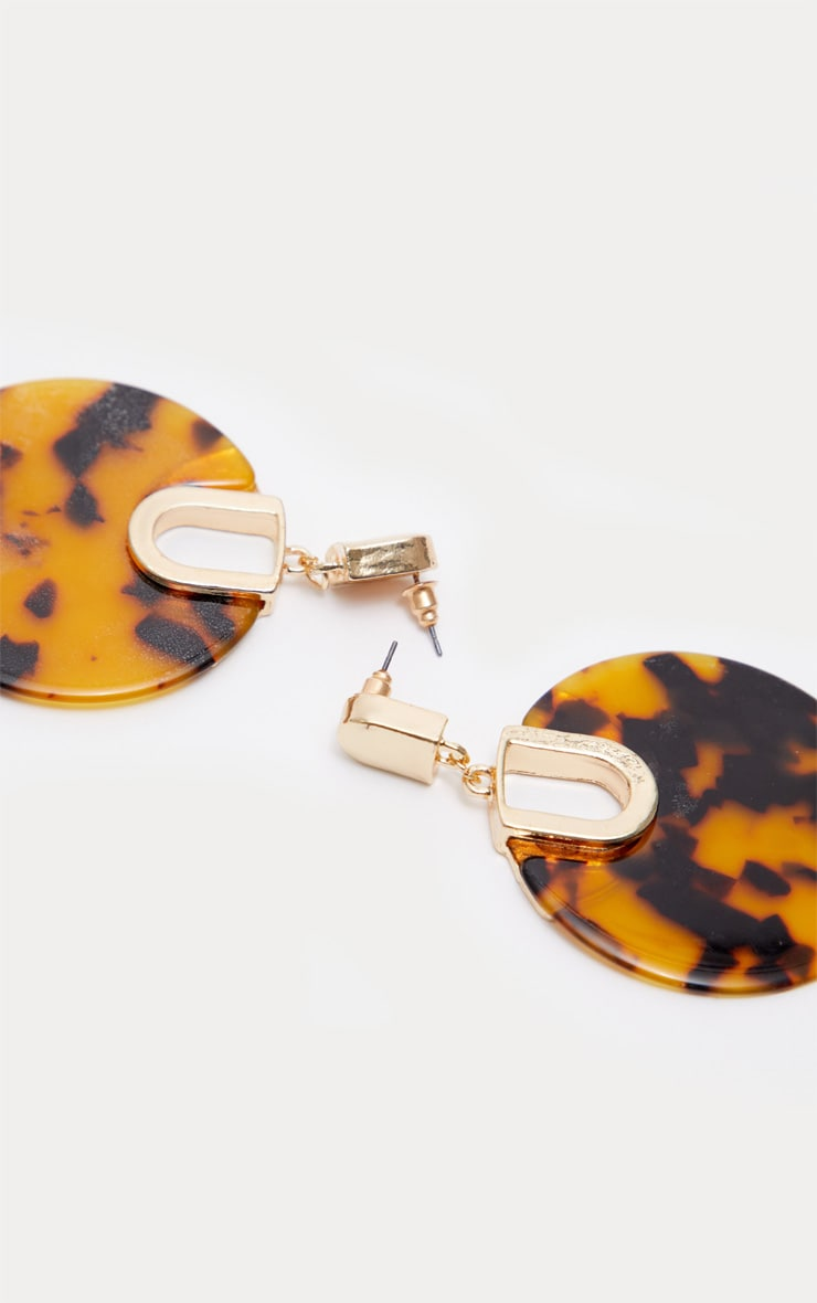 Brown Tortoiseshell Resin Disc Drop Earrings 3