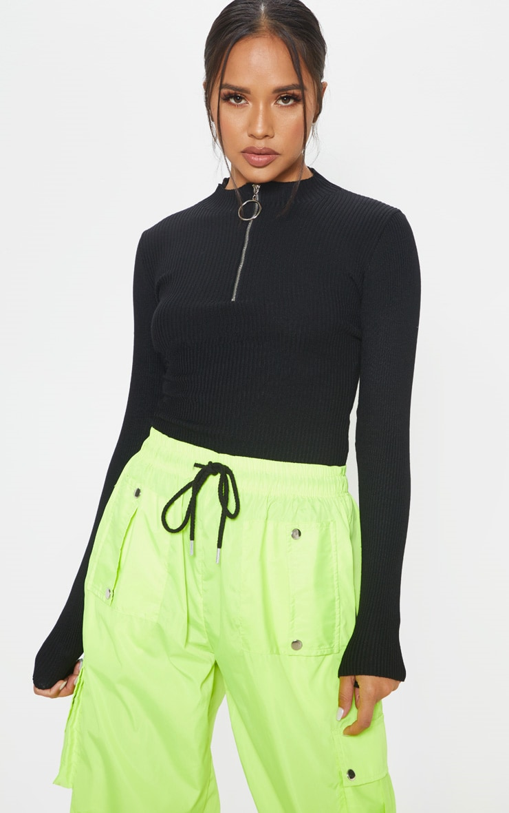 Black Ribbed Zip Up Knitted Top  1