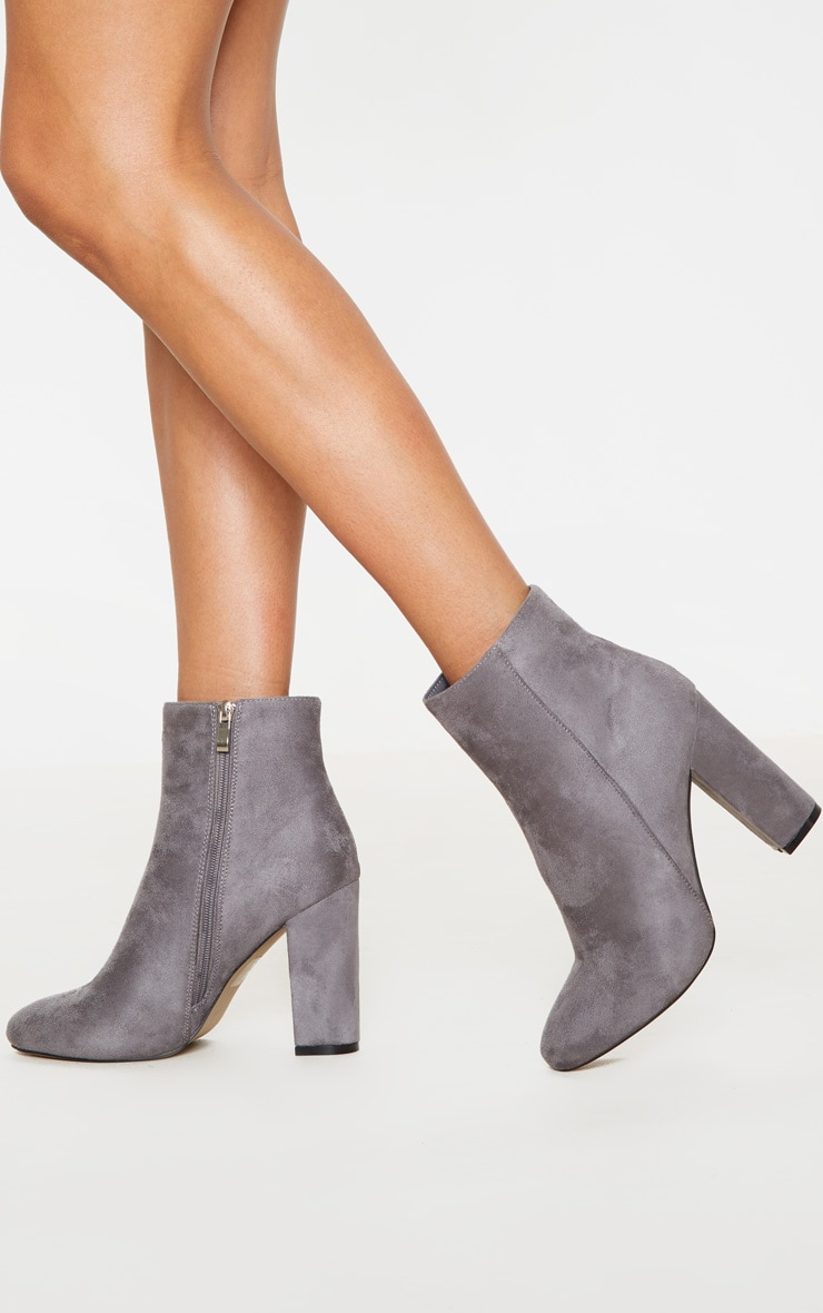 Grey Faux Suede Ankle Boots 1