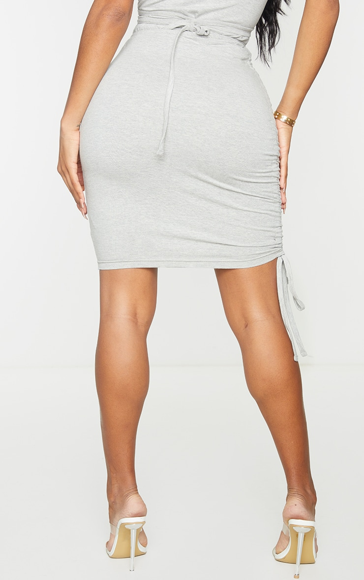 Shape Grey Cotton Ruched Side Bodycon Skirt 3