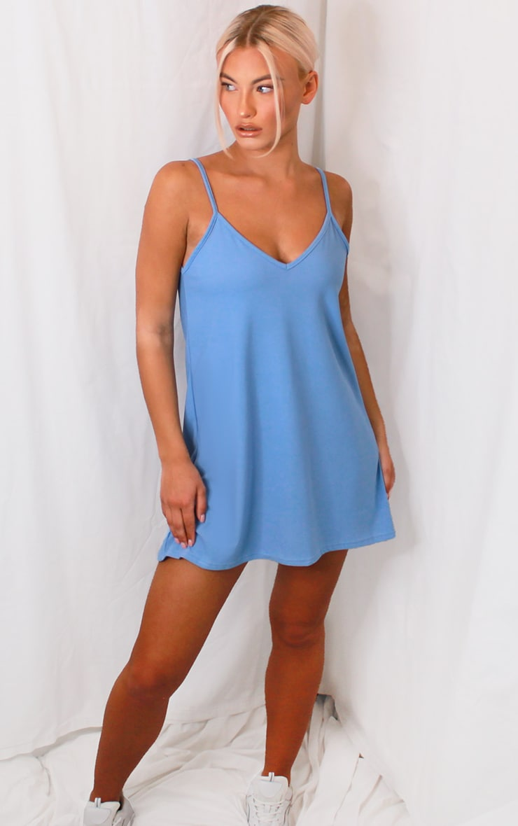 Baby Blue Backless Strappy Detail Cami Dress 3