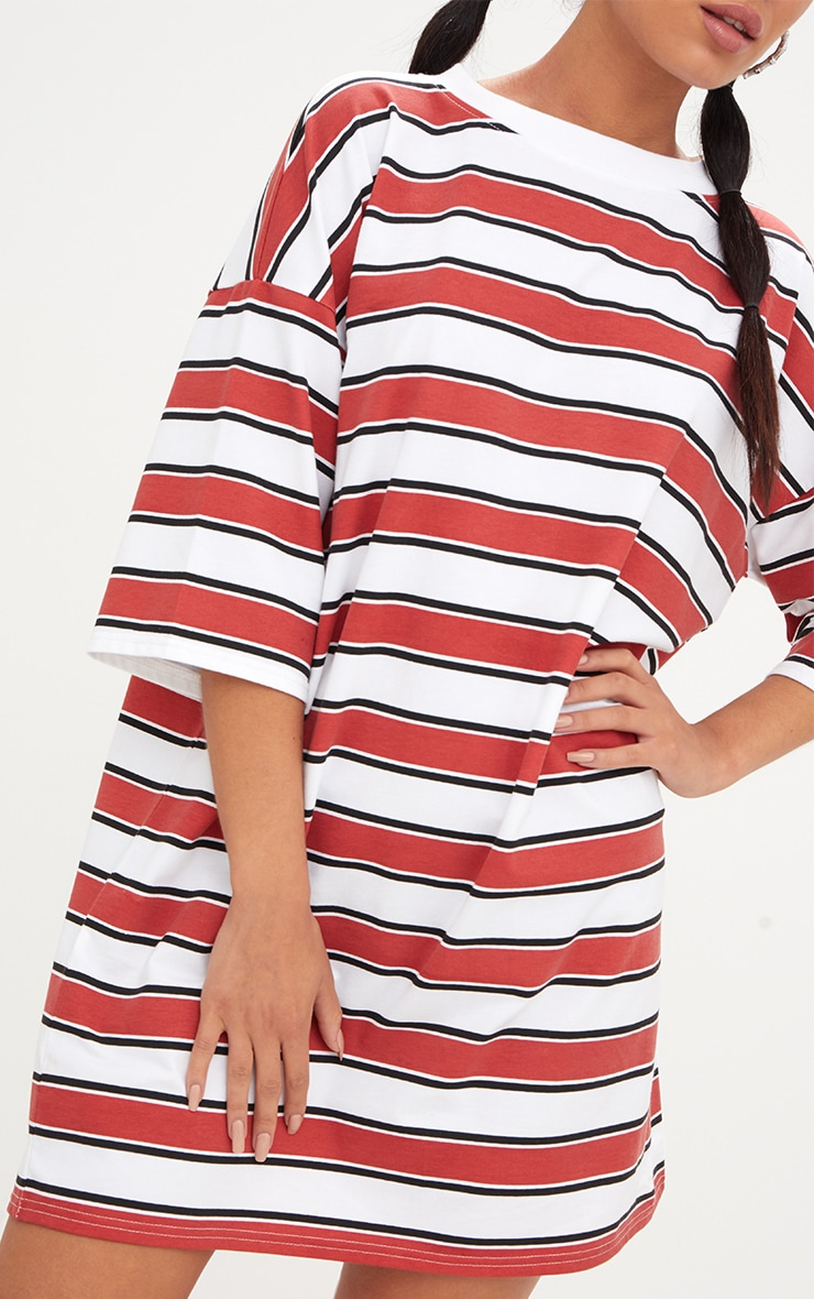 Red Striped Oversized Boyfriend T Shirt Dress 5