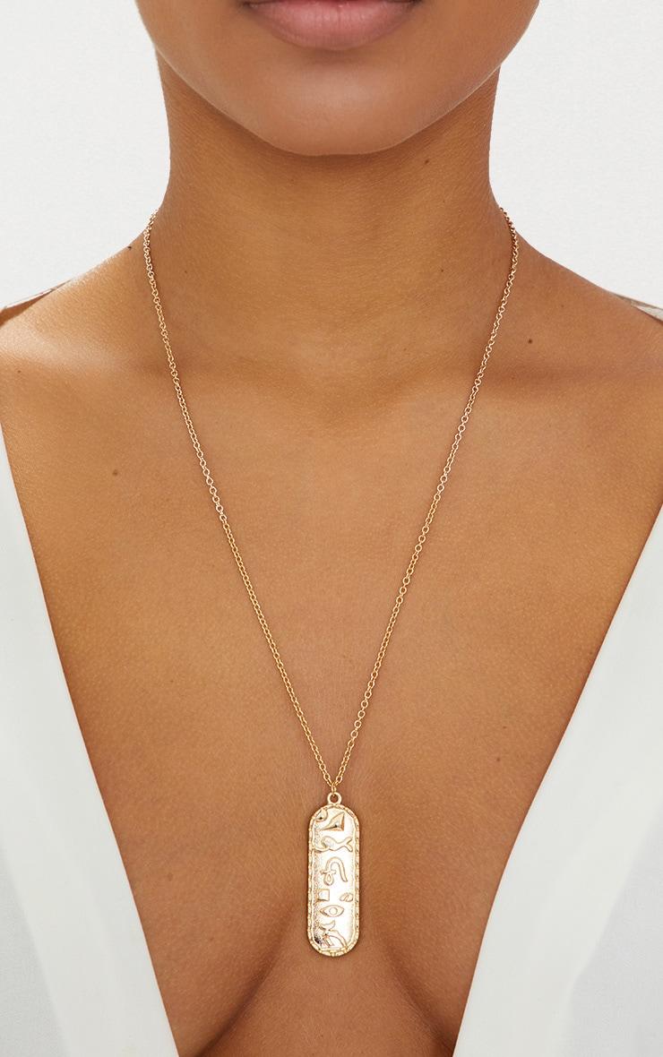 Gold Renaissance Ancient Numerals Pendant Necklace