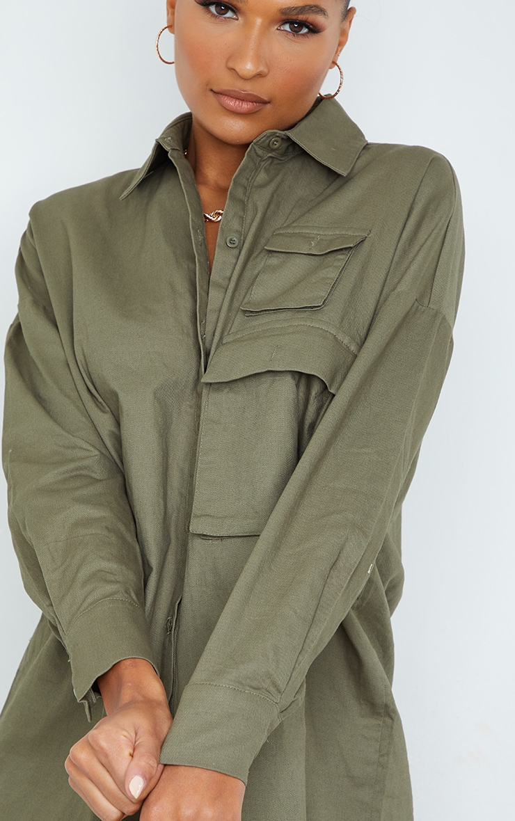 Khaki Cargo Multi Pocket Shirt Dress 4