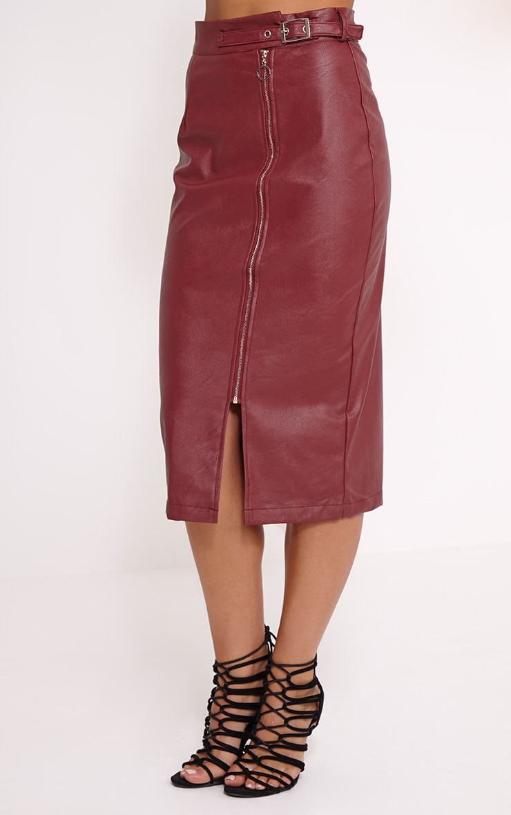 Silvia Burgundy Faux Leather Zip Front Midi Skirt 3