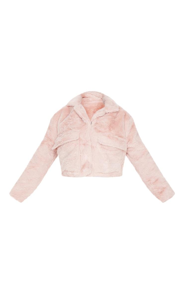 Dusty Pink Faux Fur Cropped Pocket Jacket 3