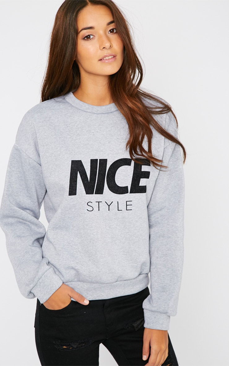 Lari Grey Nice Slogan Sweater  1