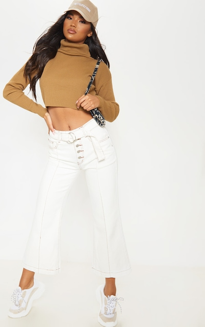 White Belted Wide Leg Cropped Jeans