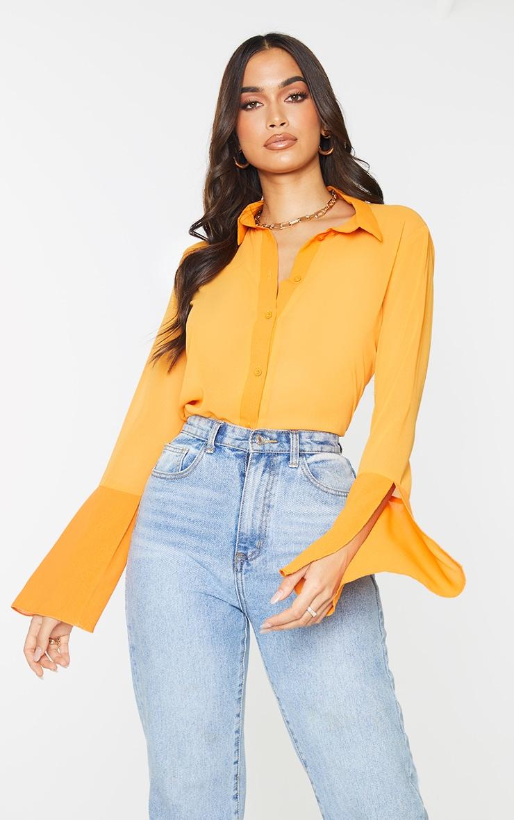 Orange Sheer Chiffon Shirt 1