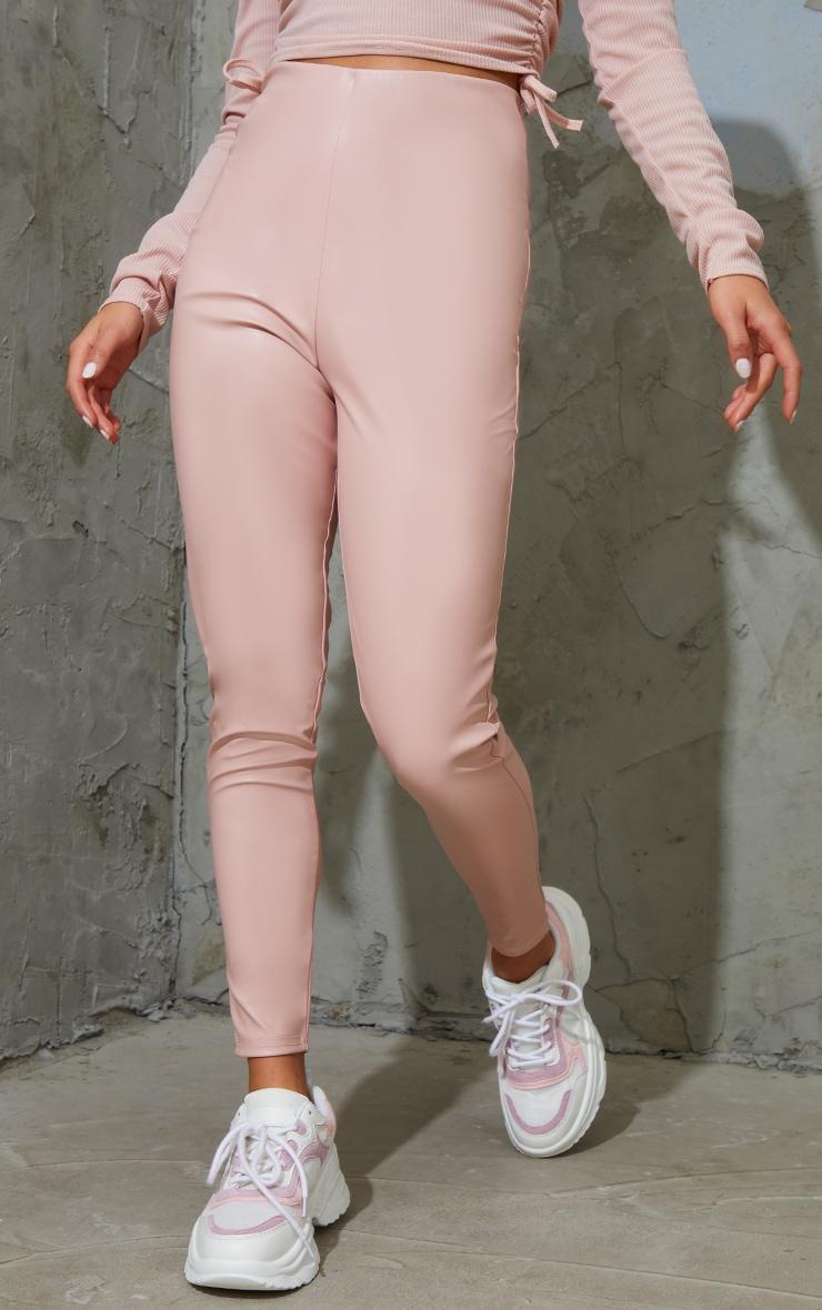 Petite Pink Basic Faux Leather High Waist Leggings 2