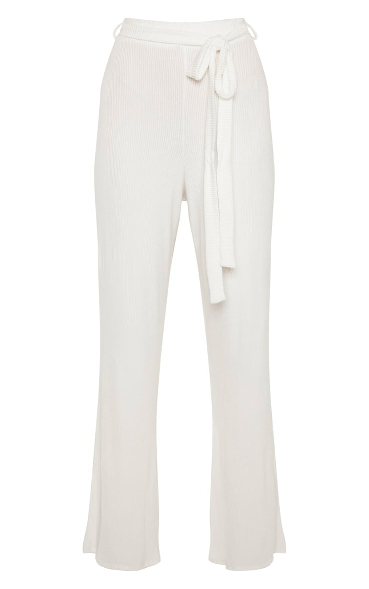 Tall Cream Knit Rib Tie Front Pants 3