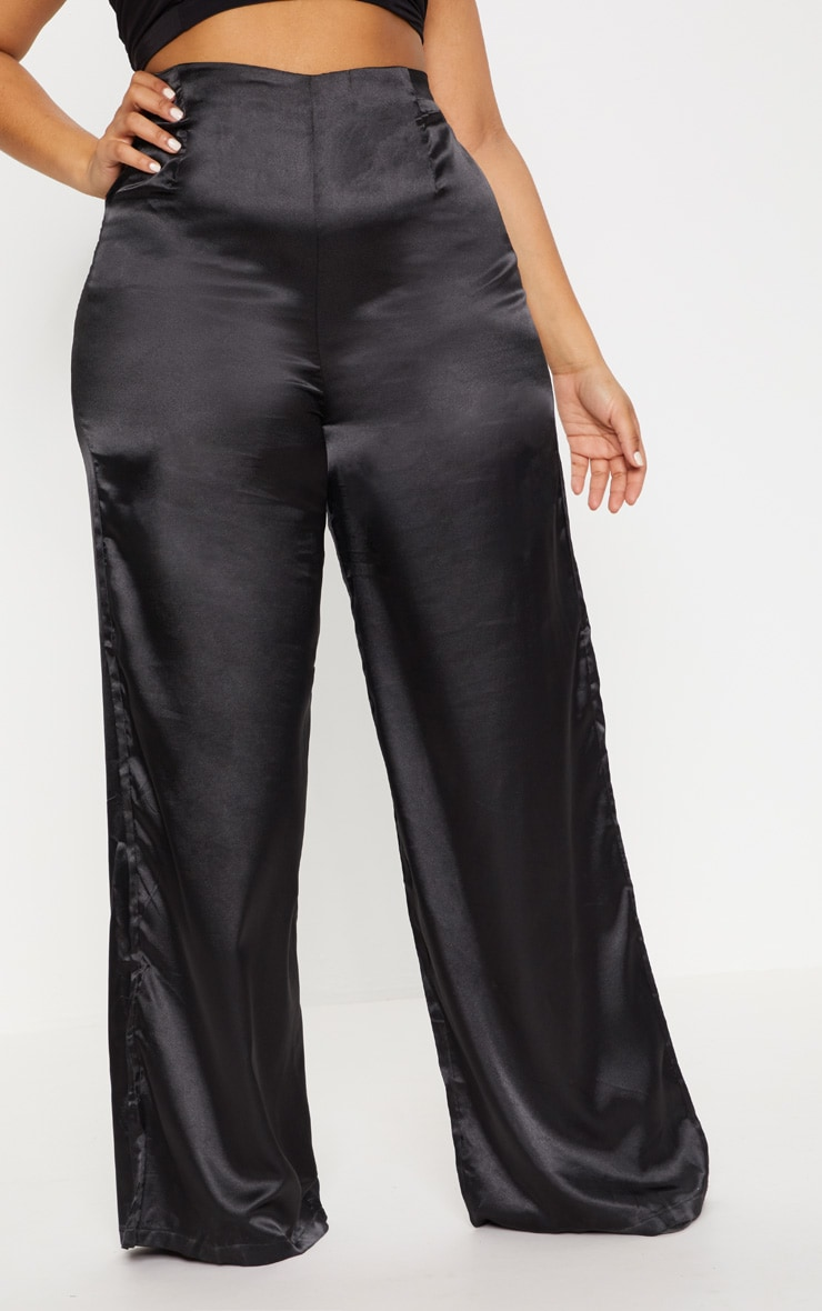 Plus Black Satin Wide Leg Trousers 2