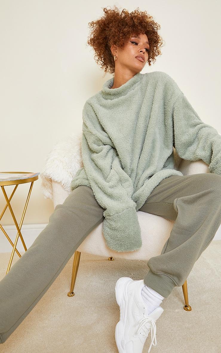 Olive High Neck Borg Sweater 3