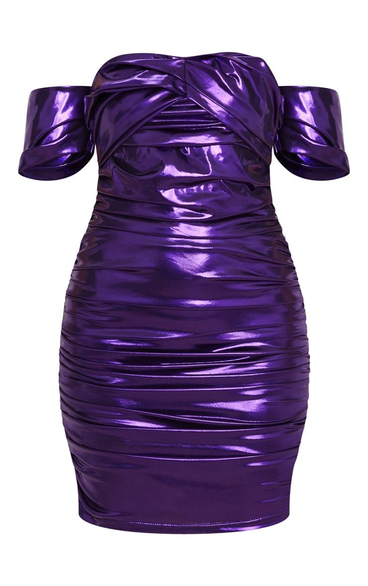 Purple Metallic Ruched Bardot Bodycon Dress 3