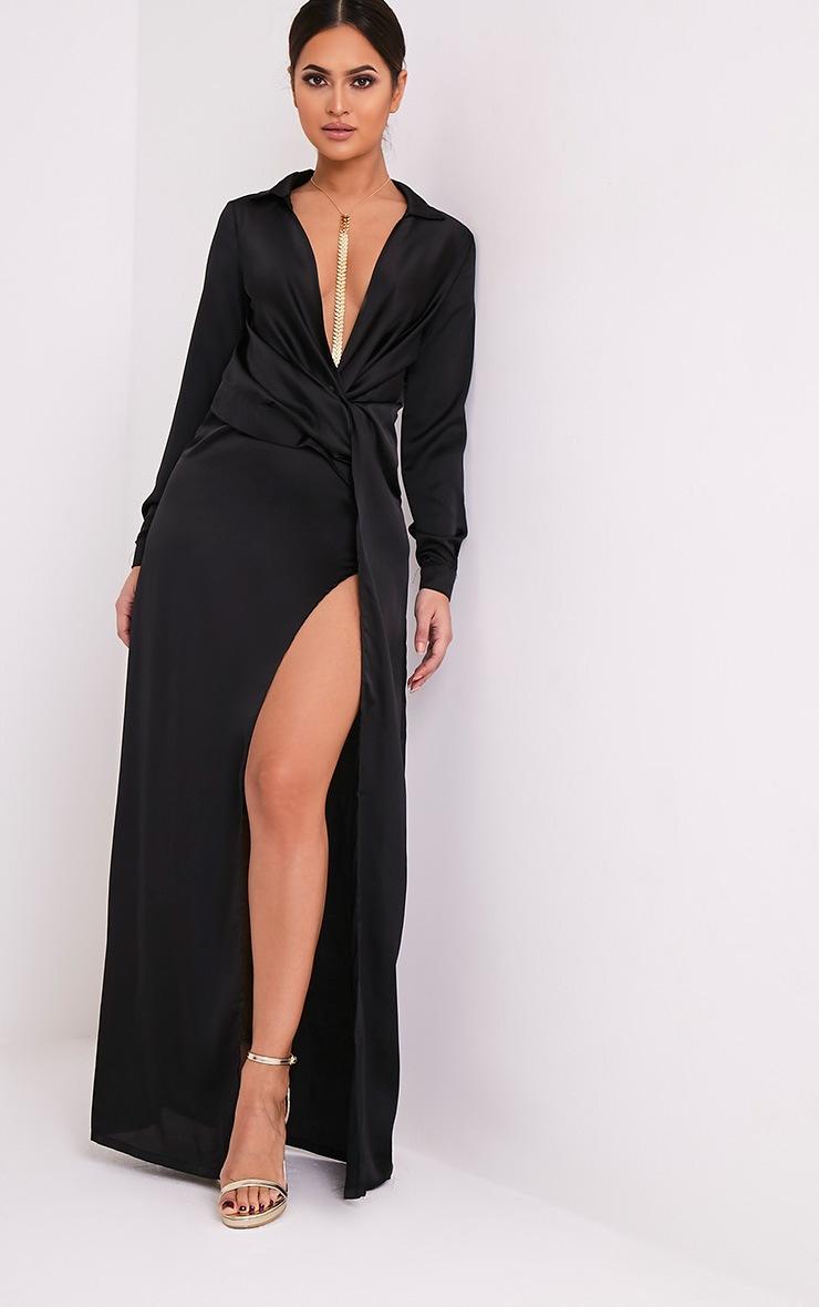 Alyssia robe chemise maxi noire à devant torsadé 5