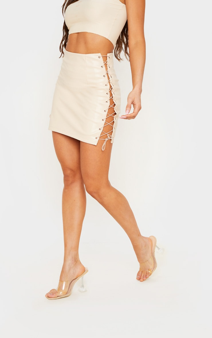 Stone Faux Leather Lace Up Mini Skirt 2