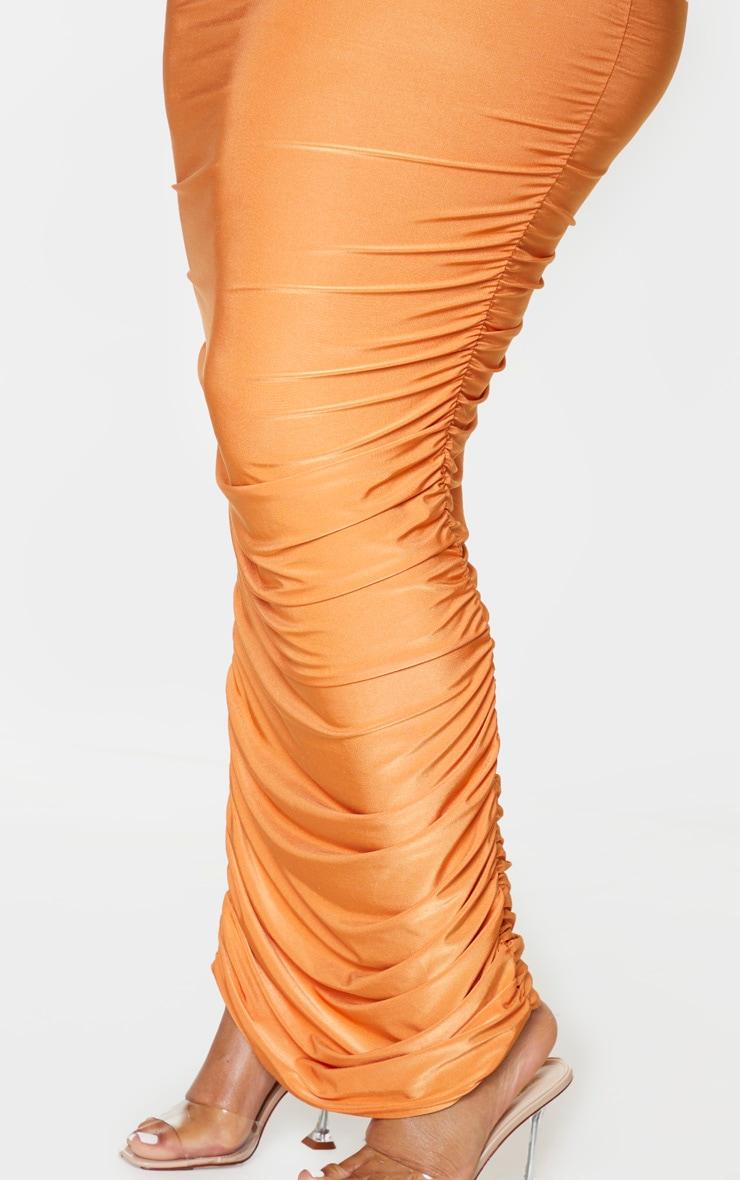 PLT Plus - Robe longue orange slinky froncée derrière à bretelles 4