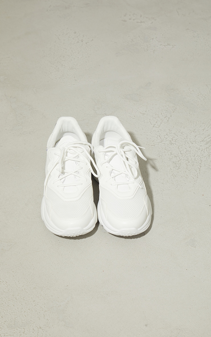 White Mesh Contrast Lace Up Bubble Sole Sneakers 3