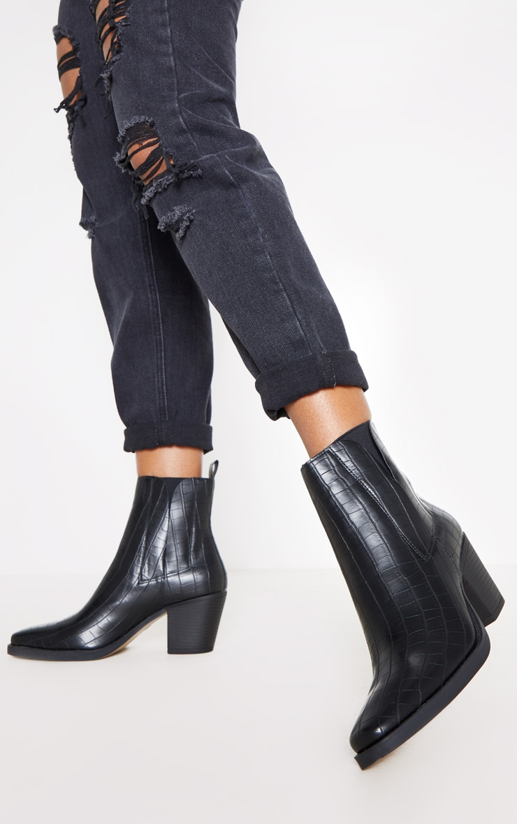Black Ankle Western Boot 1