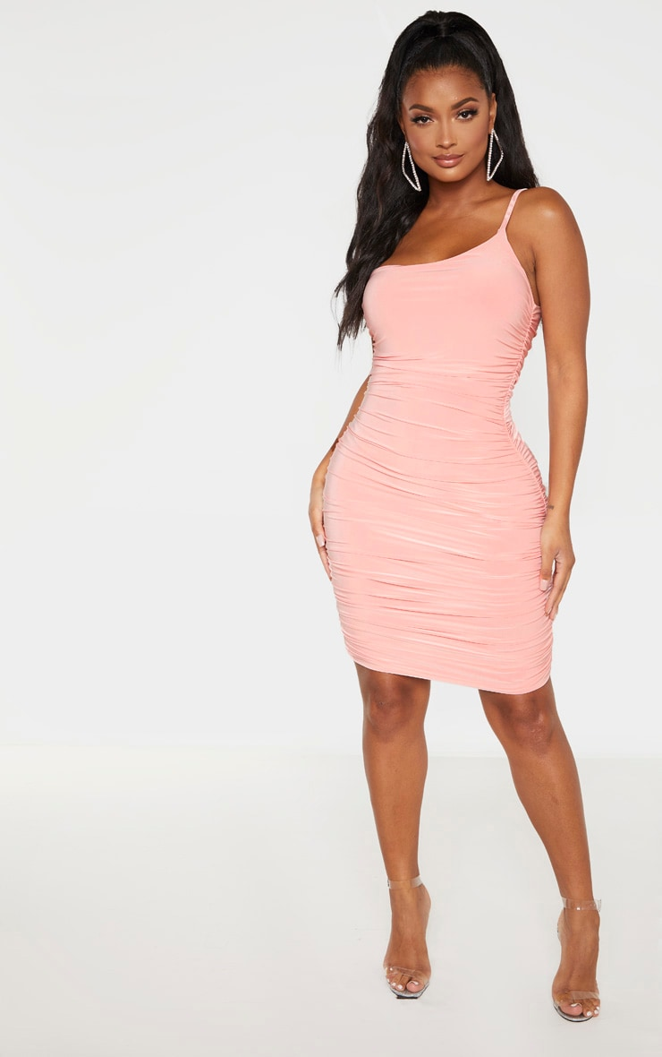Shape Coral Slinky Ruched Asymmetric Bodycon Dress 1