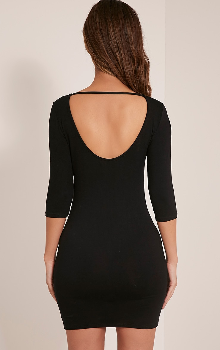 Basic Black Scoop Back V Hem Dress 2