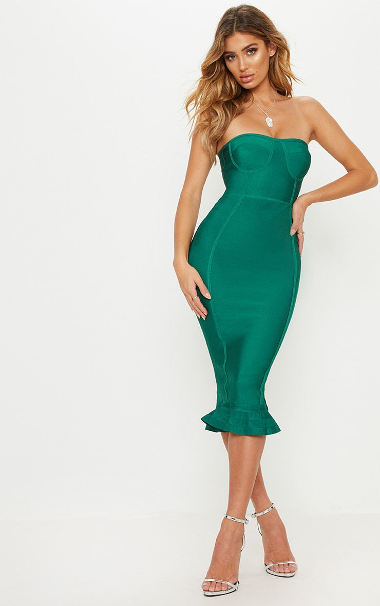 Green Bandage Frill Hem Midi Dress  1