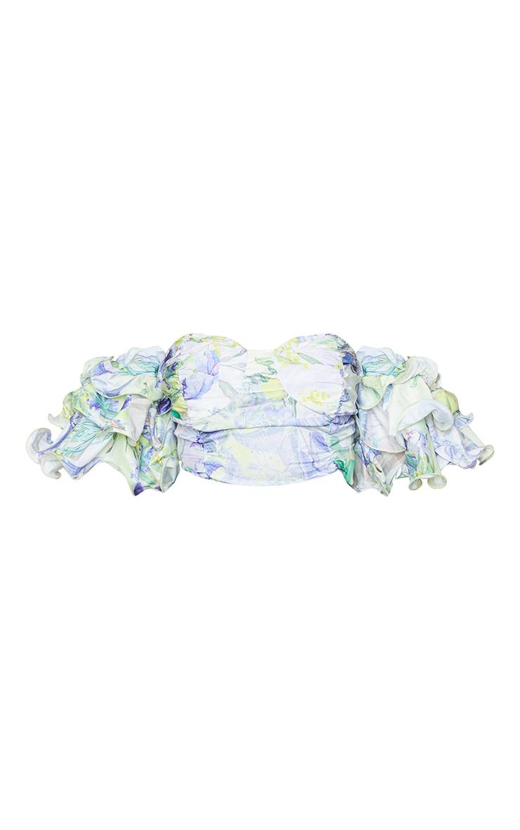 Plus White Floral Ruffle Puff Sleeve Bardot Crop Top 5