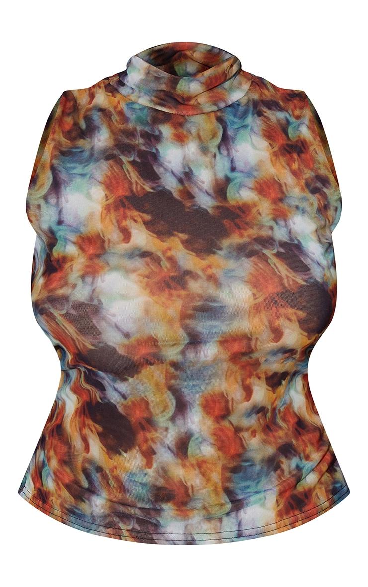 Plus Multi Tie Dye Mesh Double Layered High Neck Sleeveless Top 5