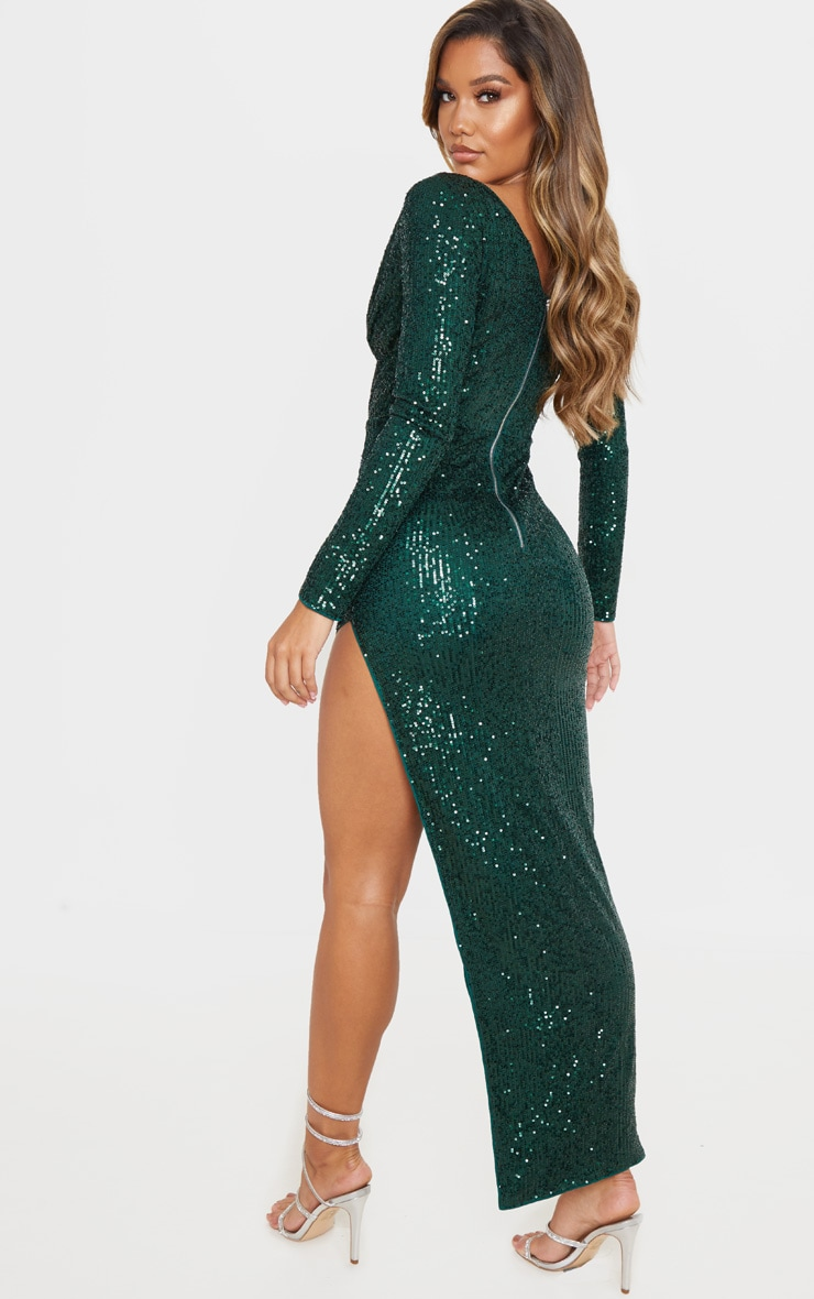 Emerald Green Sequin Long Sleeve Plunge Maxi Dress 2