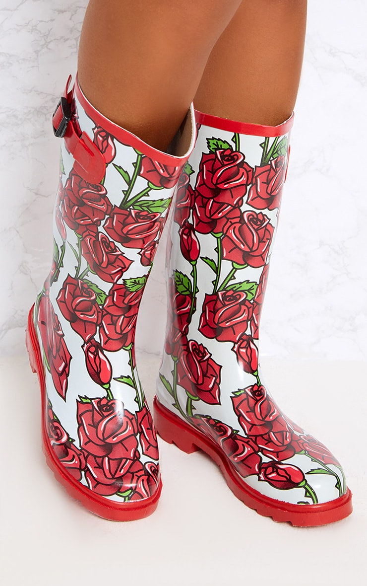 Red Rose Print Long Wellies  2