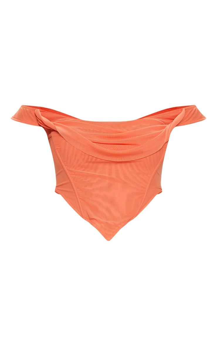 Orange Corset Mesh Bardot Top 3