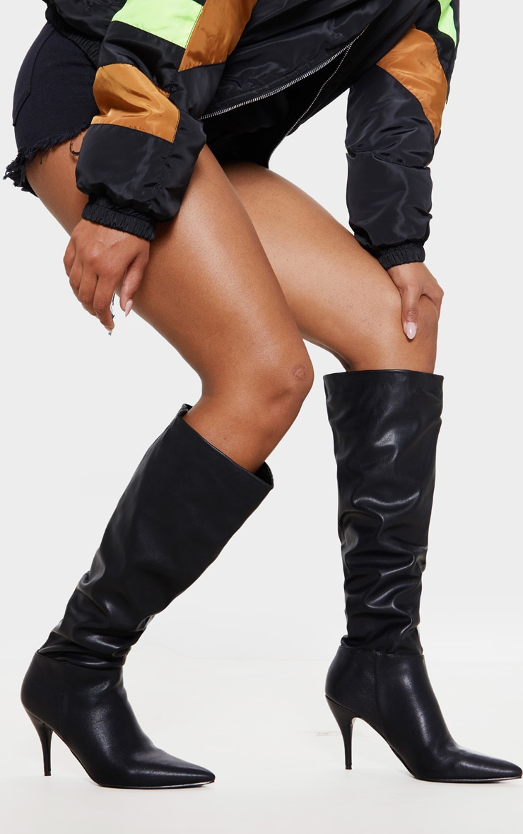 Black Mid Heel Knee Boot 2