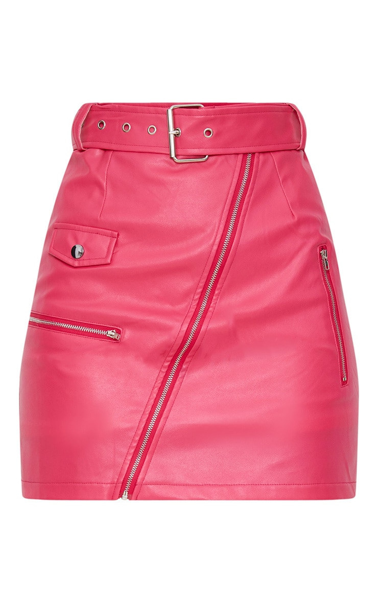 Fuchsia Faux Leather Biker Belted Mini Skirt 3
