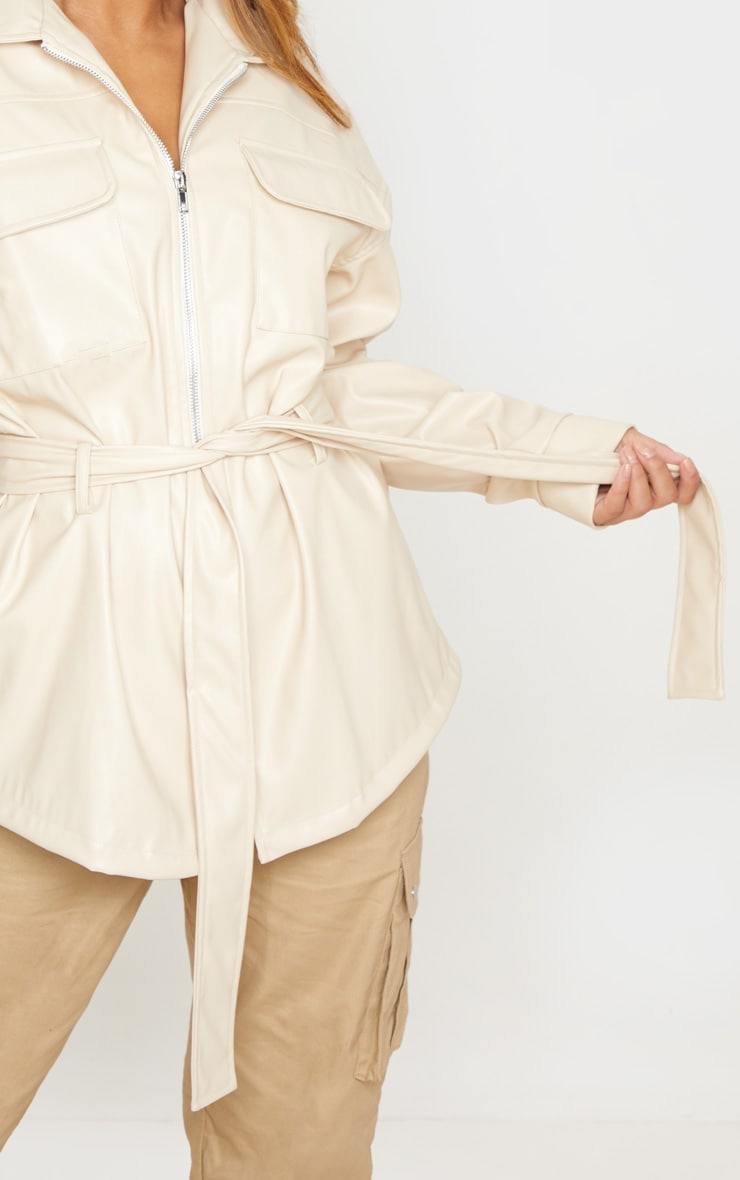 Petite Cream Faux Leather Belt Detail Jacket 5