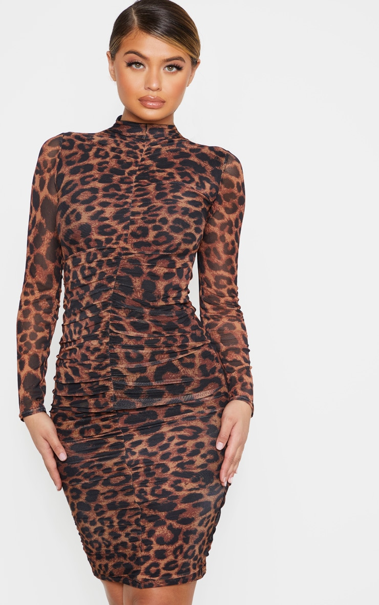 Leopard Print Ruched Mesh Midi Dress 1