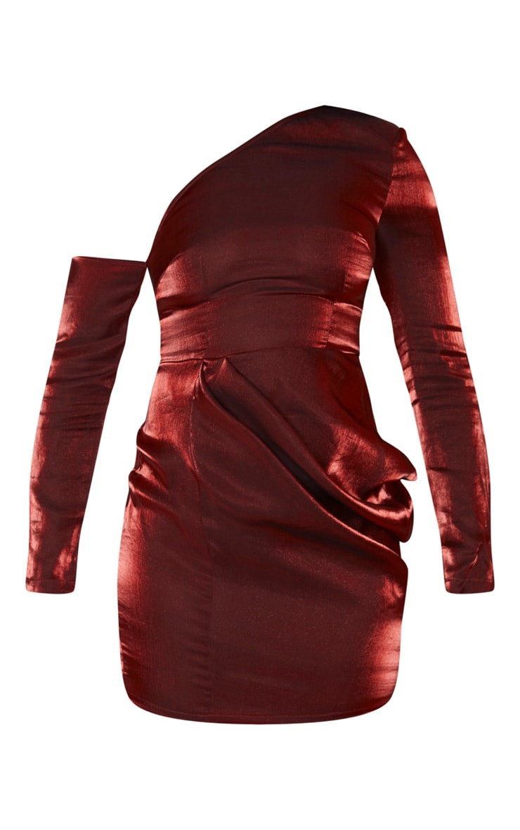 Red Metallic One Shoulder Drape Bodycon Dress 3