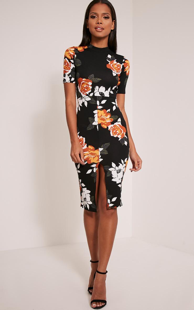 Sana Black Floral Printed Crepe Split Front Midi Dress 1