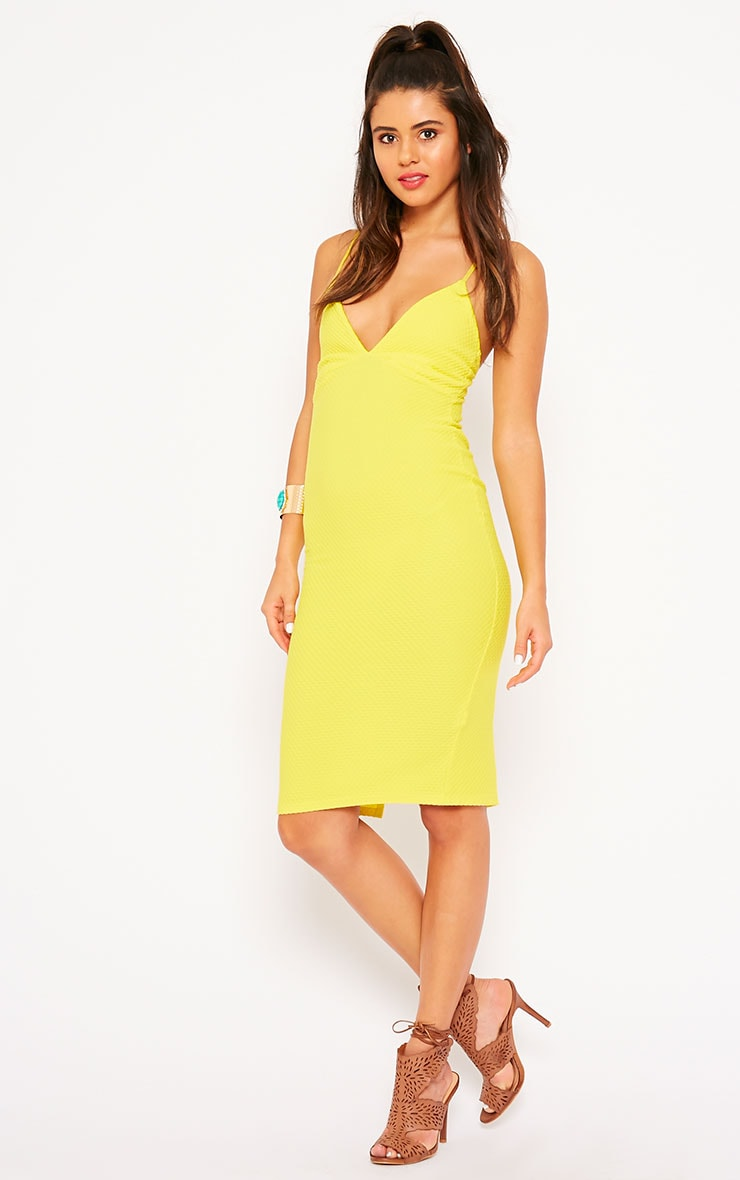 Celline Yellow Plunge Neck Textured Midi Dress 3